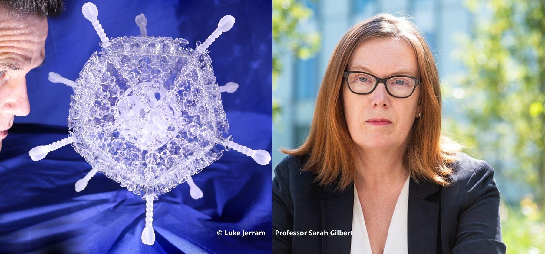 Luke Jerram COVID Vaccine sculpture with Professor Sarah Gilbert