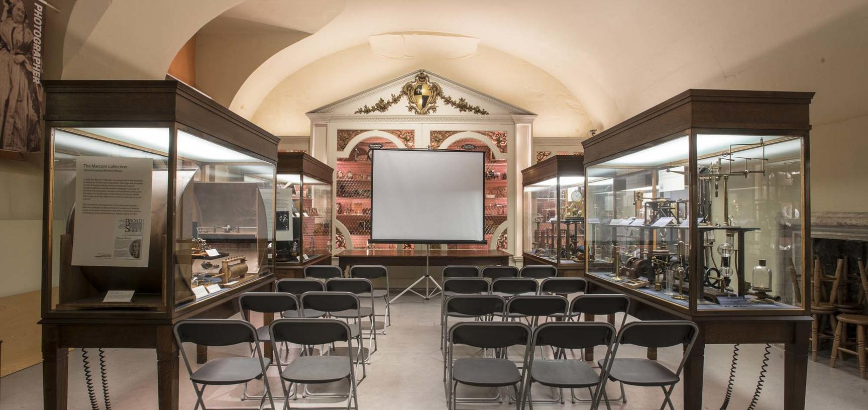 The Basement Gallery set up for lectures.