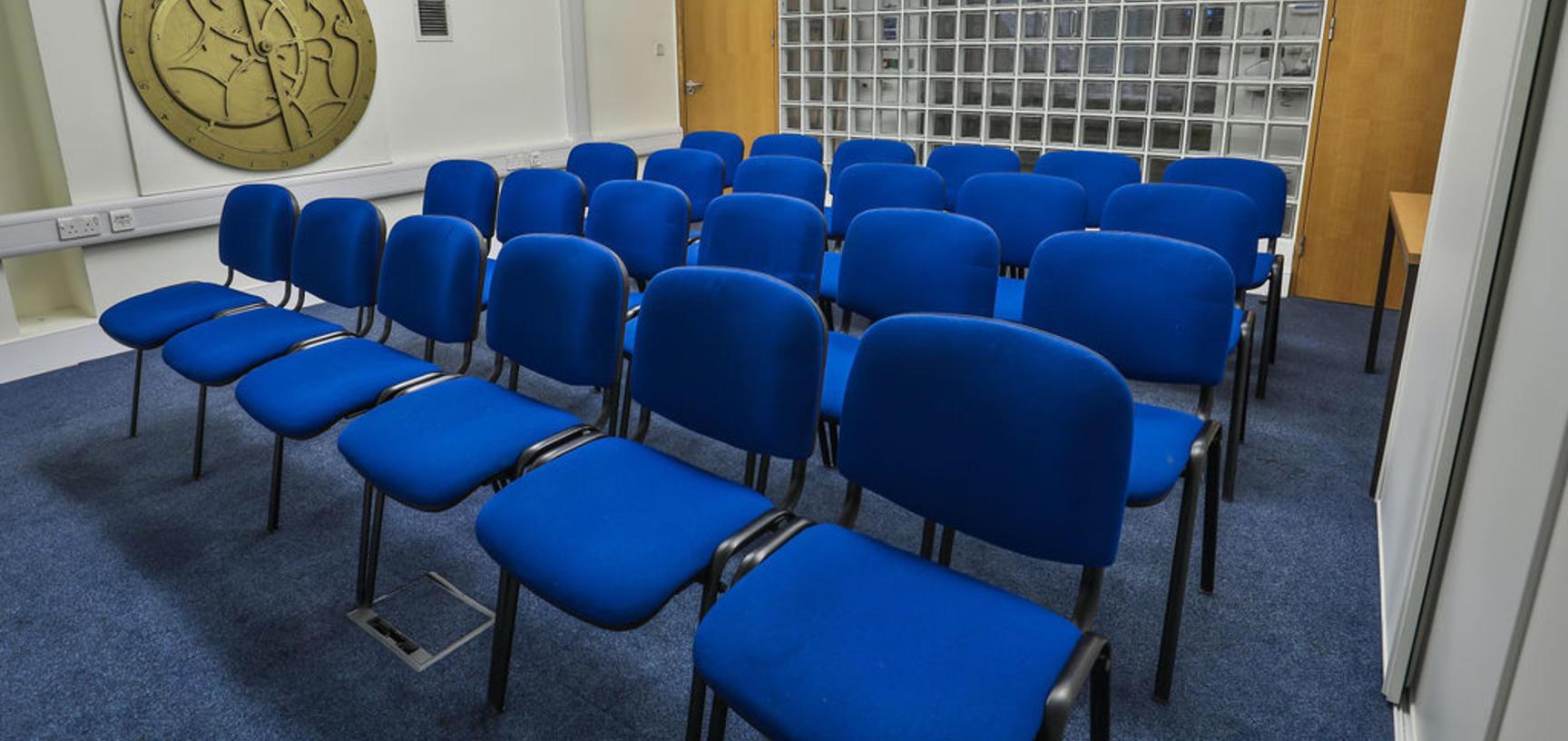 The Seminar Room set up for presentations.