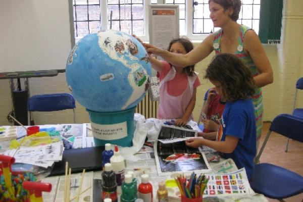 Renaissance Globe Event at Museum of Oxford: preparing the globe 2