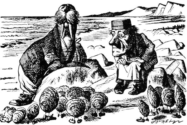 The Walrus and the Carpenter speaking to the Oysters, as portrayed by illustrator John Tenniel.