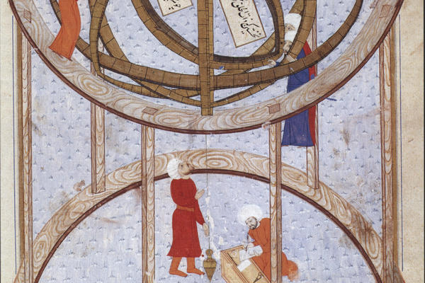 Rings of Heaven talk: First image astronomers are conducting observations using a 5 3 metre armillary sphere in the late 16th century Istanbul observatory