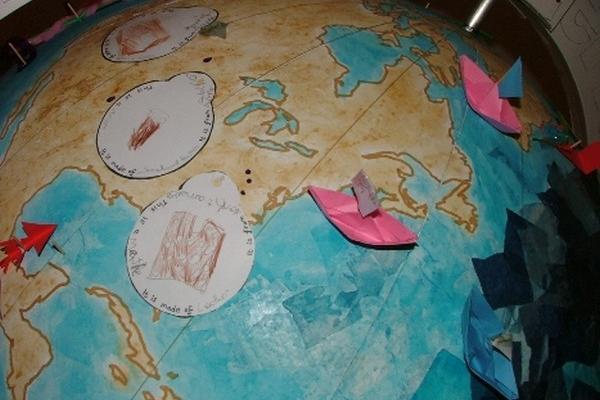 Ivory, shell & silk: globe close-up