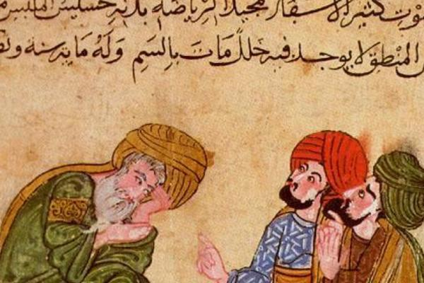 Socrates having a discussion with his students from Mukhtār al-ḥikam wa-maḥāsin al-kalim (The Choicest Maxims and Best Sayings), the Topkapı Palace Museum Library, Ahmed III 3206