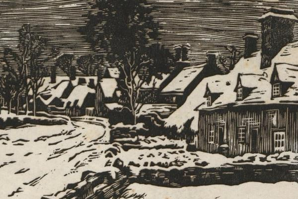 Print (Wood/Linocut) Winter Dry Sandford, by Bernard Gotch