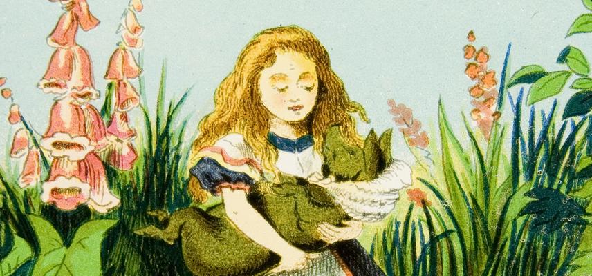 11 Alice Magic Lantern slides Alice and the Baby (pig) 1800x840px