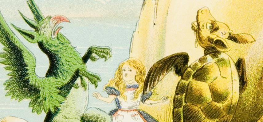 20 Alice Magic Lantern slides Inv 40038 Alice Mock Turtle & Gryphon 1800x840px