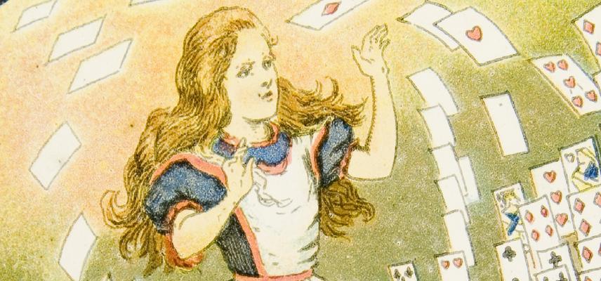 Alice Lantern Slides 24 Alice knocks over Cards 1800x840px