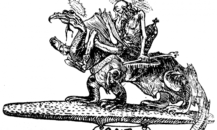 Descriptive image showing illustration of old man riding a dragon