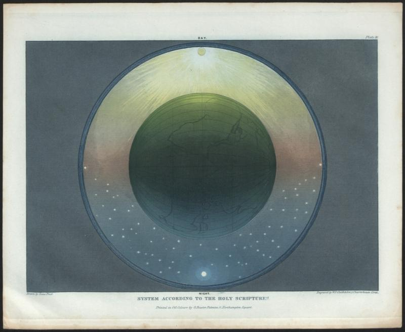 Baxter process colour print of 'System according to the Holy Scriptures', drawn by Isaac Frost, engraved by W.P Clubb, London, 1846. Inventory number 24529