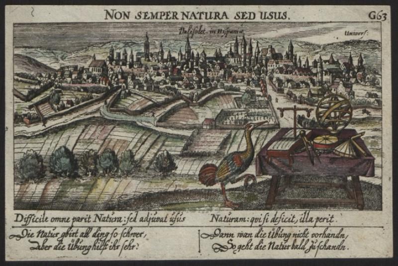 Print (Etching, Hand-Coloured) Valisolet, in Hispaniae: non semper natura sed usus,? (Paulus Fürst, Nuremberg, 17th Century). Inventory number 14371