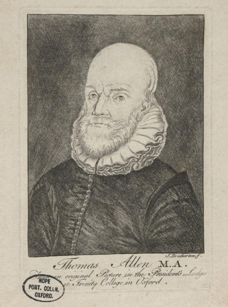 Print (Etching) of Thomas Allen, by J. Bretherton, England, 18th century. Inventory number 50541