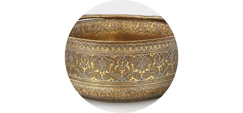 Bucket of engraved brass with silver inlay. Zain al-Din, north-west Iran or Turkey,  c. 1500 CE