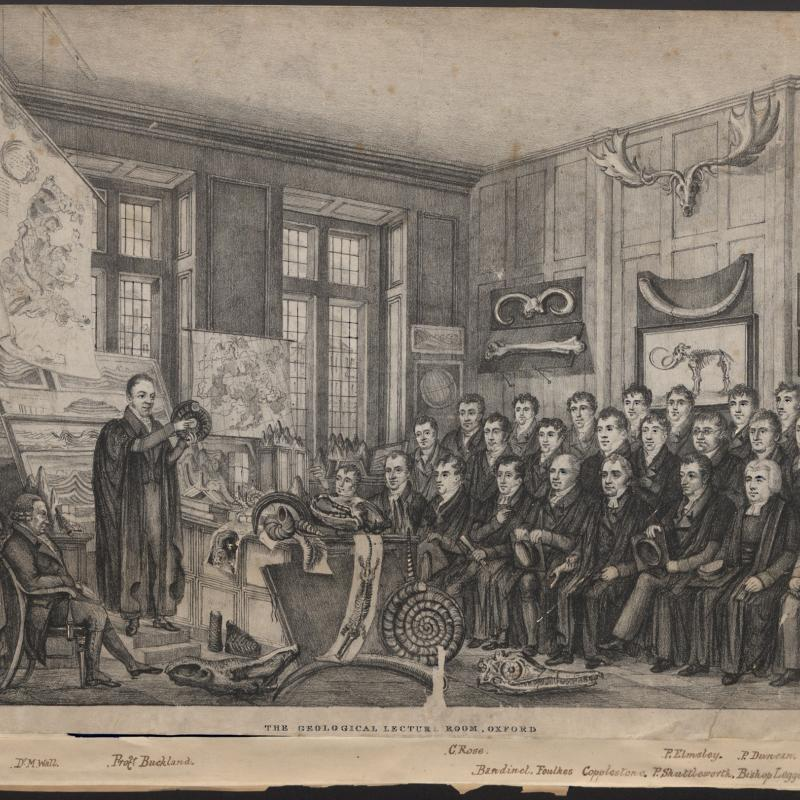 Print (Lithograph) William Buckland and The Geological Lecture Room, The Ashmolean Museum, drawn by Nathaniel Whitlock, Printed by C. Hullmandel, London, 19th Century. Inventory number 14386
