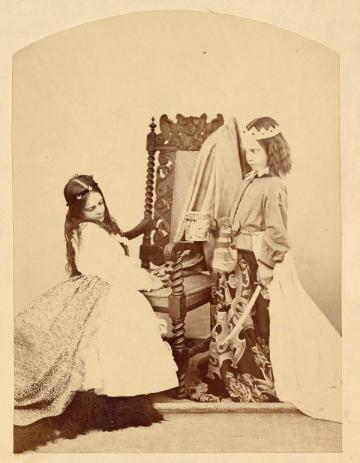 Photograph (Albumen Print) of Annie Rogers and Mary Jackson as Queen Eleanor and Fair Rosamund, by C. L. Dodgson. Object inventory number 30302