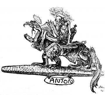 Descriptive image showing illustration of old man riding a dragon