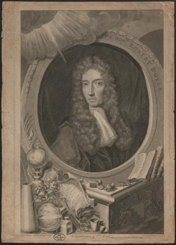 Print (engraving) of Robert Boyle, by George Vertue, after J. Kersseboom, Inventory number 14178