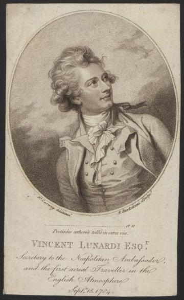 Print (stipple engraving) of Vincent Lunardi, by R. Cosway, made by Francesco Bartolozzi, [Italy], 1784 . Inventory number 22121
