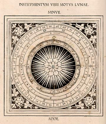 Johannes Regiomontanus, Kalendarium (Venice, 1476), lunar volvelle with title:Instrumentum veri motus lunae minue adde.