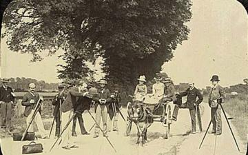 From Cameras exhibition: a lantern slide of an outing of the Oxford Photographic Society, 1890