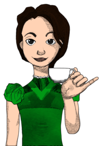 Alice in Typhoidland Alice holding teacup